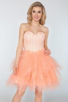 Sukienki na wesele - Wieczorowa gorsetowa sukienka z tiulu brzoskwiniowa
