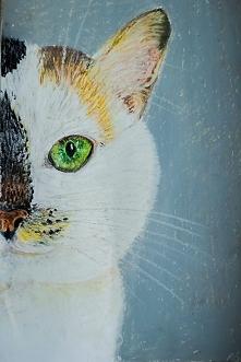 portret pupila, pastele olejne
