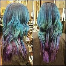 denim hair  blue green violet purple ombre