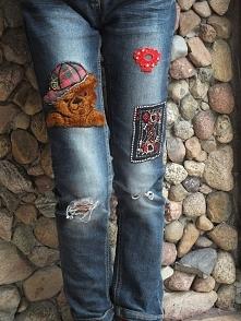 spodnie z naszywkami dla dz...