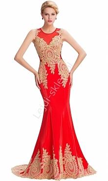 Czerwona suknia ślubna ze złotą gipiurą| wyrafinowana suknia na wesele