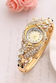 Zegarek damski z cyrkoniami i jaszczurką| biżuteryjny zegarek damski