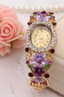 Zegarek damski z wrzosowymi i fioletowymi cyrkoniami i kwiatami 3D| biżuteryjny zegarek damski
