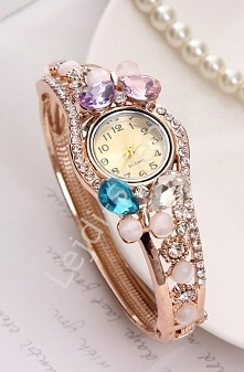 Zegarek z kryształkami i kamieniami : kocie oko | zegarek damski