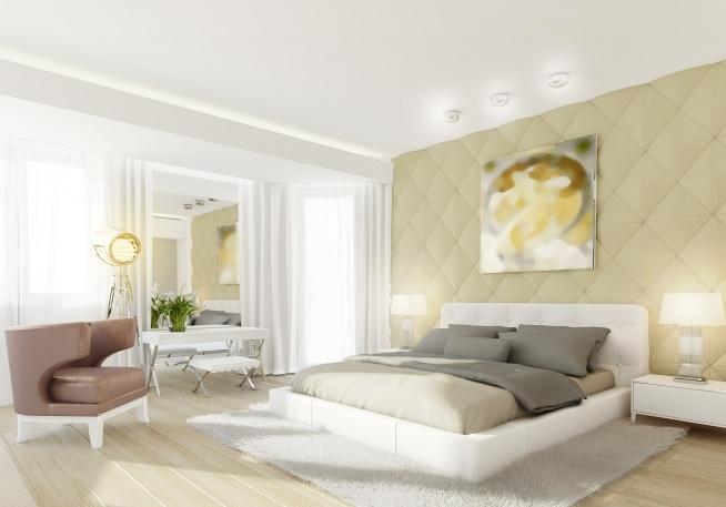 Wystrój Wnętrza Sypialni Z Białym Tapicerowanym łóżkiem