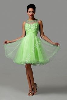 Tiulowa limonkowa sukienka z koralikami i cekinami | limonkowe sukienki