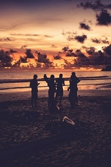 #sea #bonfire #sunset