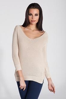 Lekki sweter damski z długi...