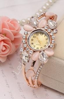 Zegarek z kryształkami i kamieniami : kocie oko   zegarki damskie