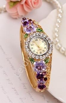 Zegarek z fioletowymi i wrzosowymi kwiatami | zegarek z cyrkoniami