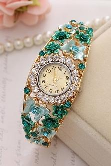 Biżuteryjny zegarek z motylkami i różami 3D | turkusowe zegarki, zegarek bransoletka