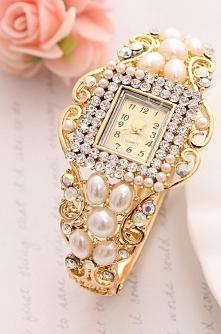 Biżuteryjny zegarek z perłami | zegarek ślubny