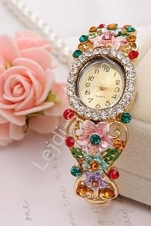 Zegarek damski z kolorowymi cyrkoniami i kwiatami 3D| biżuteryjne zegarki damski