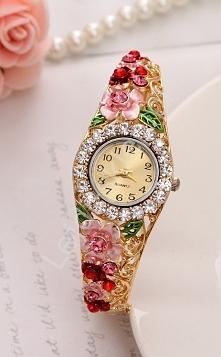 Zegarek z różowymi i czerwonymi kwiatami | zegarek z cyrkoniami