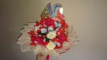 cukierkowy bukiet z listkami życzeniami :)