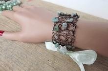 Miedziana bransoletka z amazonitem. Acoya Jewellery.
