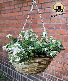 Kosz wiszący obsadzony kwiatami na tle ceglanej ściany - udane połączenie!