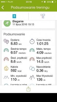 Wczorajsze bieganie. Przed bieganiem pompki, przysiady i ćwiczenia na brzuch. Mój cel to do końca lipca zrzucić 3 kg.