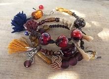 W odcieniach brązu - komplet trzech bransoletek w stylu Boho. Acoya Jewellery.