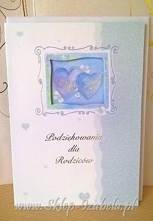 Podziękowania ślubne dla rodziców. Karnet format B6.