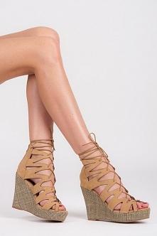 Modne sandały na koturnie z wiązaniem. Platforma 3cm., obcas 11cm. W 3 kolorach do wyboru!  Sklep Allettante.pl Super cena 90,00zł.  Buty damskie, Sandały.