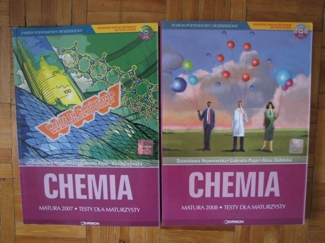 Testy maturalne z chemii - zakres podstawowy i rozszerzony. Cena 10zł./2szt. + koszty wysyłki