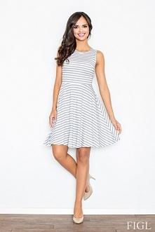 Rewelacyjna bawełniana sukienka w modne paski. Model o rozkloszowanym fasonie, bardzo kobiecy. Dostępna w 3 kolorach - odcienie szarości, beżu oraz granatu.  Producent Figl Skle...
