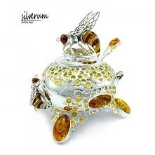 Ręcznie wykonana cukiernica srebrna z motywem pszczół na plastrach miodu ozdobiona bursztynem.