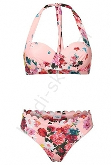 Bikini w stylu retro , pastelowo różowe z kwiatami