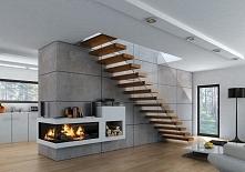 schody wspornikowe, półkowe, szklana barierka #schody #design