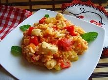 Risotto z kurczakiem i duszonymi warzywami