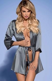 Obsessive Satinia robe grey komplet uszyty z połyskującego materiału, magnetyzujący, szary kolor, wiązany szerokim paskiem, łatwo rozpakować prezent!