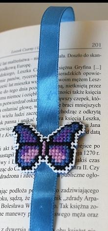 Niebieski Motyl - zakładka do książki - haft krzyżykowy