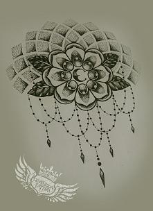 dotwork -moja wersja old schoolowego kwiatu i mandali...wieczorne bazgrołki
