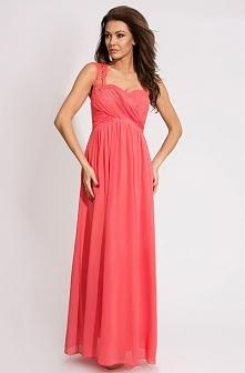 Elegancka długa zwiewna suknia, góra dopasowana, ozdobiona koronką. Producent...