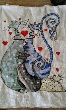 5 zakochanych kotów - haft krzyżykowy
