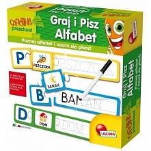 Innowacyjna gra edukacyjna Lisciani P54770 - Gra Graj i Pisz Alfabet, która poprzez łącznie obrazków z pierwszą literą ich nazwy umożliwia dziecku poznanie wszystkich liter alfa...