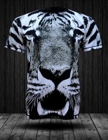 Koszulka z pełnym nadrukiem od firmy fullprintwear z motywem biało-czarnego t...