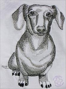 Haftowany pies JAMNIK