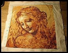 Haft krzyżykowy - Głowa kobiety Leonardo da Vinci