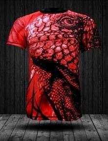 Czerwony tshirt fullprint z motywem czarno-czerwonego Gekona.