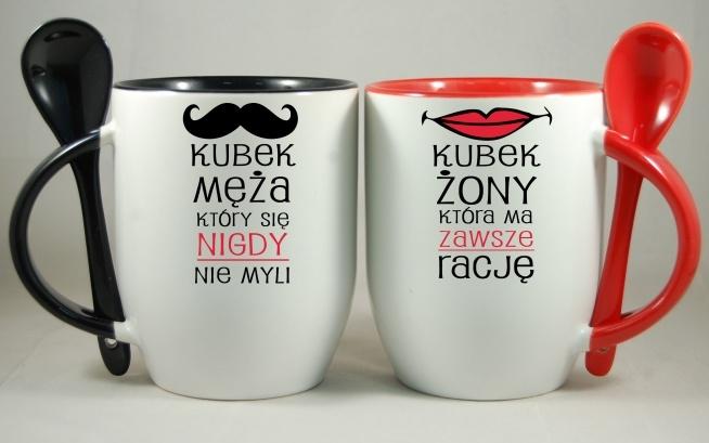 komplet dla małżeństwa, mąż który się nigdy nie myli i żona, która ma zawsze rację. Do zamówienia na nadruko.pl