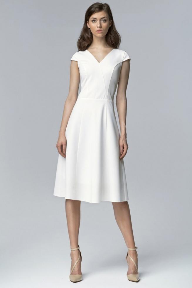 2a5e27c7c5 Elegancka sukienka za kolano wizytowa ecru na Sukienki wizytowe ...