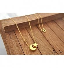 Naszyjnik złocony księżyc i gwiazdka. Kliknięcie w zdjęcie przeniesie Cię do mojego sklepu!