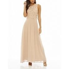 Długa szyfonowa sukienka na wesele z koronkowym topem w kolorze nude