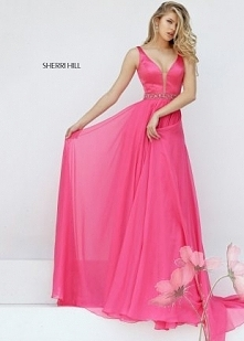 Watermelon Long Classy Low Cut V-Neck Chiffon Dress for Prom
