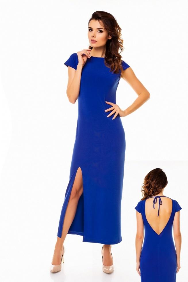 Elegancka długa sukienka z dekoltem w łódkę, krótkimi rękawami i wycięciem na plecach w kształcie trójkąta. Dostępne kolory niebieska, granatowa, czarna, czerwona.  Producent Awama Sklep Allettante.pl