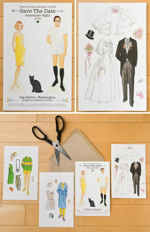 zaproszenia ślubne z papierowymi przebierankami :)