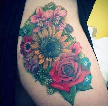 Tatuaże Damskie Kolorowe Kwiaty Na Tatuaże Zszywkapl