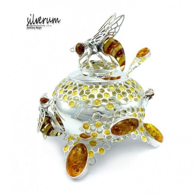 Unikatowa srebrna cukiernica,ręcznie wykonana,ozdobiona pszczołami i bursztynem,miejscami złocona.
